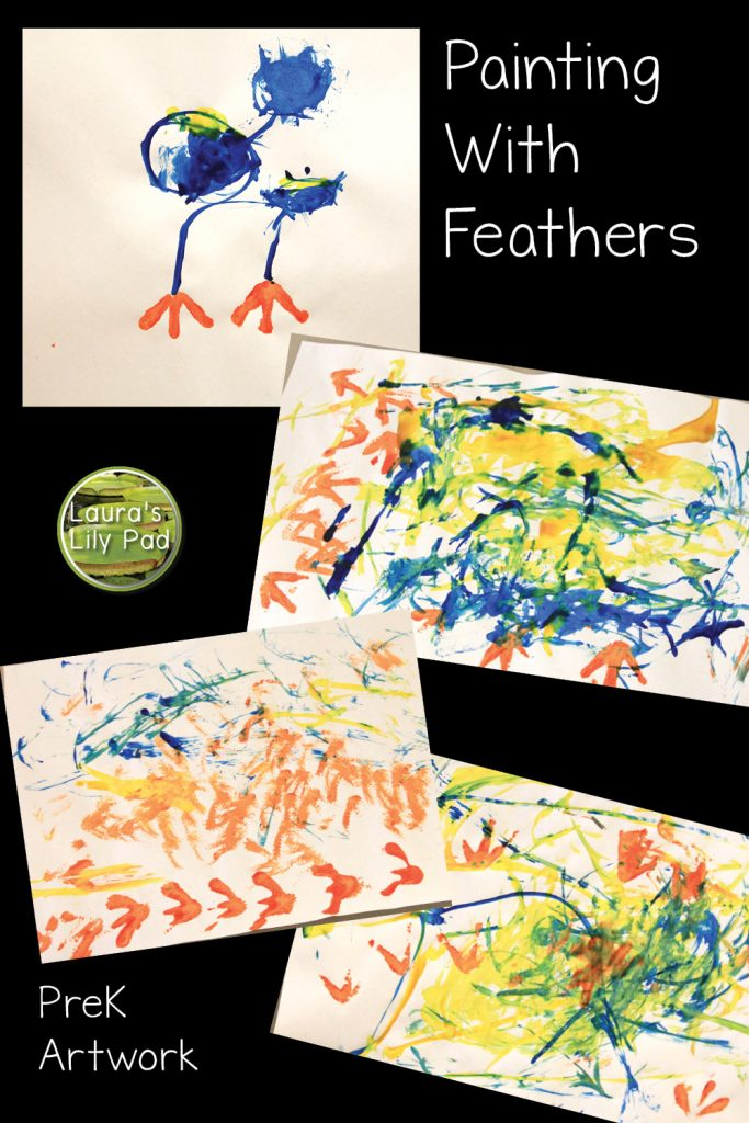 Painting with feathers bird art in PreK