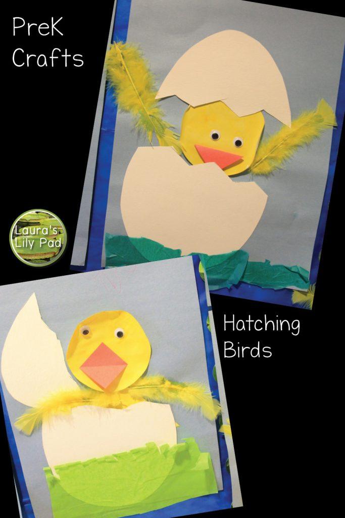 Hatching birds craft in PreK with cutting practice
