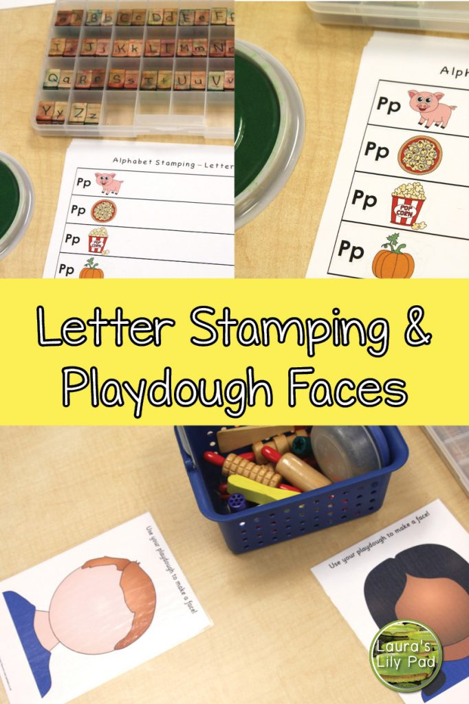 Letter stamping and play dough faces