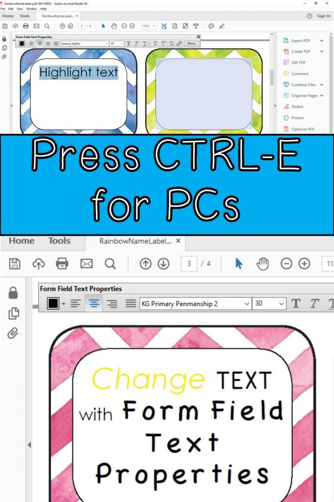 Changing text in editable pdf